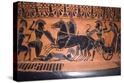 Greek Soldiers and Chariot in Battle, vase painting, c6th century BC-Unknown-Stretched Canvas Print