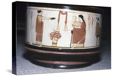 Greek Pyxis, (Cosmetic Box), Women performing domestic tasks, Athens, c460BC-450 BC-Unknown-Stretched Canvas Print