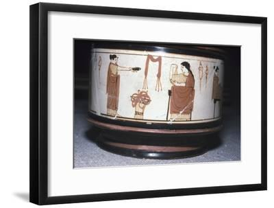 Greek Pyxis, (Cosmetic Box), Women performing domestic tasks, Athens, c460BC-450 BC-Unknown-Framed Giclee Print