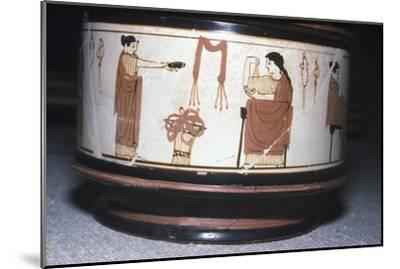 Greek Pyxis, (Cosmetic Box), Women performing domestic tasks, Athens, c460BC-450 BC-Unknown-Mounted Giclee Print