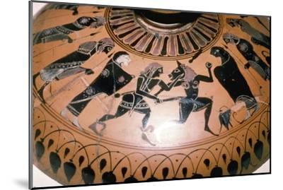 Theseus and the Minotaur on the lid of a Greek Dish, c5th century BC-Unknown-Mounted Giclee Print