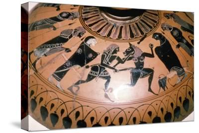 Theseus and the Minotaur on the lid of a Greek Dish, c5th century BC-Unknown-Stretched Canvas Print