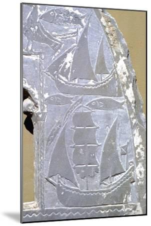 Detail of ships on carved lunette (window) from Greek Byzantine church, 9th-10th Century-Unknown-Mounted Giclee Print
