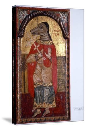 St Christopher with a Dog's Head, Byzantine Icon, 1685-Unknown-Stretched Canvas Print