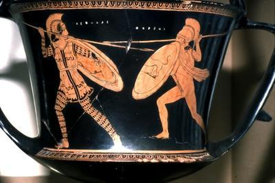 Greek Vase Painting, Persian and Hoplite fighting, c5th century BC-Unknown-Framed Giclee Print