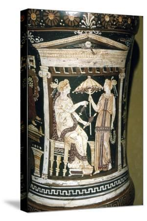 Apulian Vase, Penelope Spinning Wool, c340 BC-Unknown-Stretched Canvas Print
