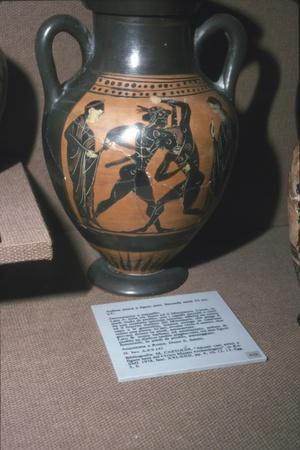 Amphora, Theseus and the Minotaur, 6th century BC-Unknown-Framed Giclee Print
