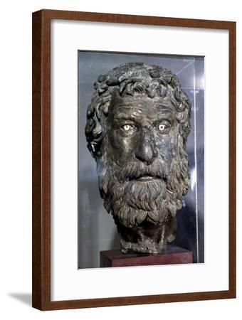 Bronze Portrait Head of Philosopher, found in sea of Antikythera, circa late 3rd century BC-Unknown-Framed Giclee Print