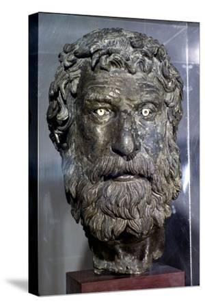 Bronze Portrait Head of Philosopher, found in sea of Antikythera, circa late 3rd century BC-Unknown-Stretched Canvas Print