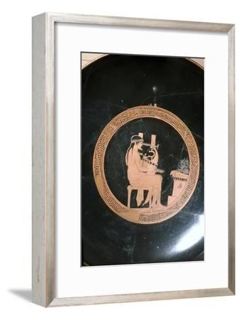 Greek Vase Painting of Lyre Player, Attic Red Figure Cup, c5th century BC-Unknown-Framed Giclee Print