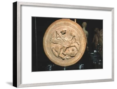 Terracotta Flask with moulded medallion, Bellerophon killing the Chimaera, c300BC-c250BC-Unknown-Framed Giclee Print