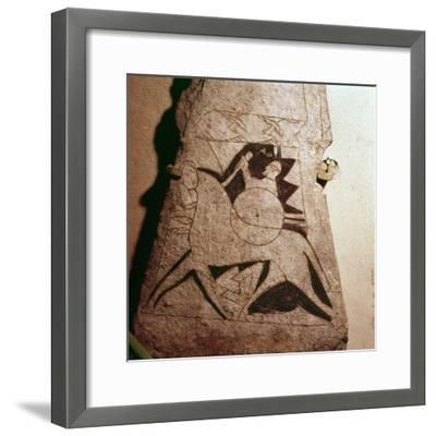 Detail of a Viking Horseman, Stela, Gotland, c8th century-Unknown-Framed Giclee Print