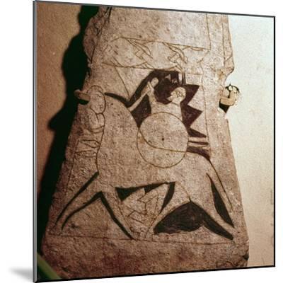 Detail of a Viking Horseman, Stela, Gotland, c8th century-Unknown-Mounted Giclee Print