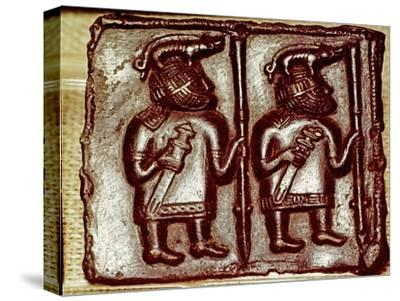 Bronze Matrix for making decorative peaques for helmets, 8th century-Unknown-Stretched Canvas Print