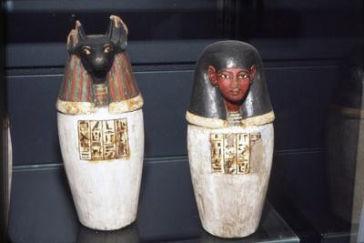 Anubis Canopic Jars, 22nd Dynasty, c1550BC-1069 BC-Unknown-Framed Giclee Print