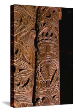 Detail of carving of Stave Church from Gol in Hallingdal, built c1200-Unknown-Stretched Canvas Print