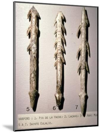 Bone Harpoons for fishing, Dordogne region, France, Paleolithic Period, (c20th century)-Unknown-Mounted Giclee Print