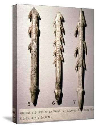 Bone Harpoons for fishing, Dordogne region, France, Paleolithic Period, (c20th century)-Unknown-Stretched Canvas Print