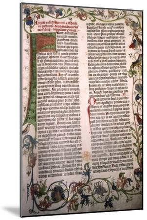 Gutenberg Bible, 42-line Bible printed in Mainz, 1455-Unknown-Mounted Giclee Print