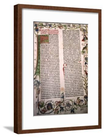 Gutenberg Bible, 42-line Bible printed in Mainz, 1455-Unknown-Framed Giclee Print