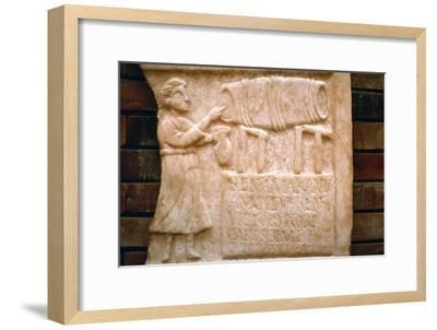Roman relief, a woman draws wine from a cask at a Tavern, Merida, Spain, c2nd-3rd century-Unknown-Framed Giclee Print