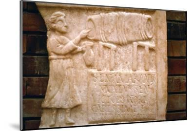 Roman relief, a woman draws wine from a cask at a Tavern, Merida, Spain, c2nd-3rd century-Unknown-Mounted Giclee Print