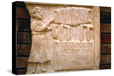 Roman relief, a woman draws wine from a cask at a Tavern, Merida, Spain, c2nd-3rd century-Unknown-Stretched Canvas Print