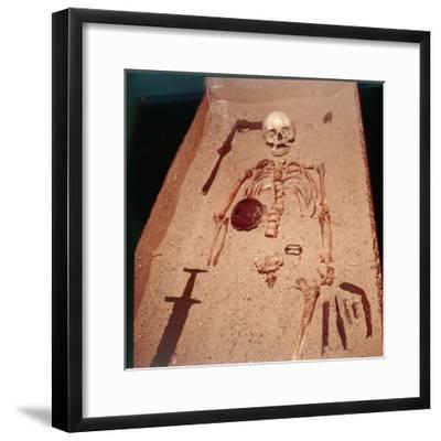 Viking Burial of Man with Axe, Spear, Sword , Knives, Shield and Belt Buckle, 9th-10th century-Unknown-Framed Giclee Print