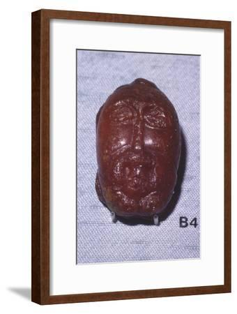 Amber Head of a Bearded Man, Viking Period, from Denmark, c8th-mid 11th century-Unknown-Framed Giclee Print