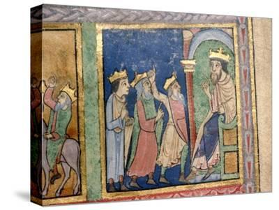 Detail from a Psalter the Magi and Herod, c1140-Unknown-Stretched Canvas Print
