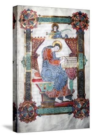 St. Matthew writing his Gospel, Anglo-Saxon work, c1062-65-Unknown-Stretched Canvas Print