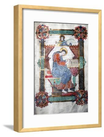 St. Matthew writing his Gospel, Anglo-Saxon work, c1062-65-Unknown-Framed Giclee Print