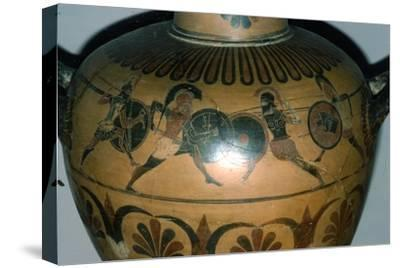 Hoplites Fighting, detail of a Greek pot, (Hydria), c530-510 BC-Unknown-Stretched Canvas Print