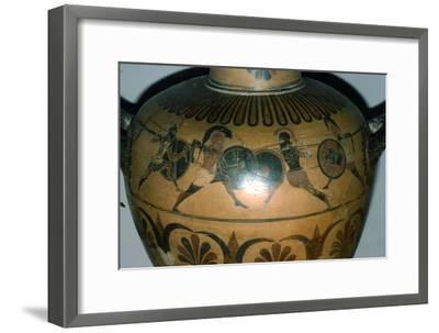 Hoplites Fighting, detail of a Greek pot, (Hydria), c530-510 BC-Unknown-Framed Giclee Print