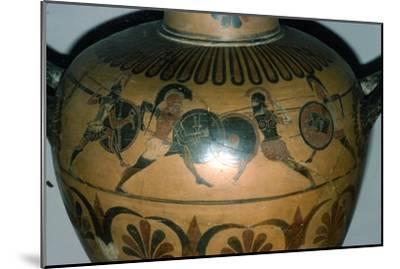 Hoplites Fighting, detail of a Greek pot, (Hydria), c530-510 BC-Unknown-Mounted Giclee Print