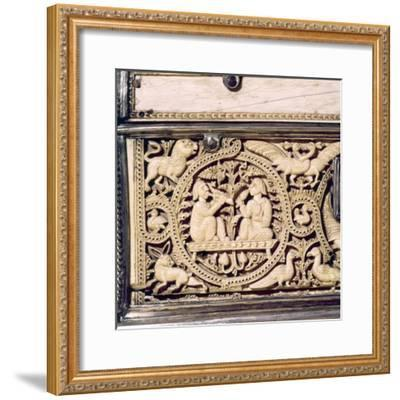 Detail of front of Ivory Casket, Hispano-Arabic work, Cordoba, 11th centur-Unknown-Framed Giclee Print