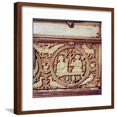 Detail of front of Ivory Casket, Hispano-Arabic work, Cordoba, 11th century-Unknown-Framed Giclee Print
