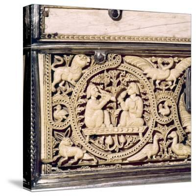 Detail of front of Ivory Casket, Hispano-Arabic work, Cordoba, 11th centur-Unknown-Stretched Canvas Print