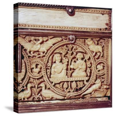Detail of front of Ivory Casket, Hispano-Arabic work, Cordoba, 11th century-Unknown-Stretched Canvas Print