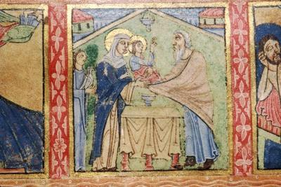 Detail of a Psalter, Presentation of Jesus in the Temple, c1140-Unknown-Framed Giclee Print