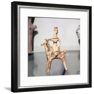 Minoan Clay Figurine Horse and Rider (Goddess), Terracotta, Arkhanes, Crete, c1400BC-c1100 BC-Unknown-Framed Giclee Print