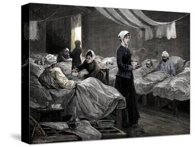 Florence Nightingale in the barrack hospital at Scutari, c1880-Unknown-Stretched Canvas Print