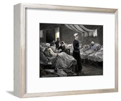 Florence Nightingale in the barrack hospital at Scutari, c1880-Unknown-Framed Giclee Print
