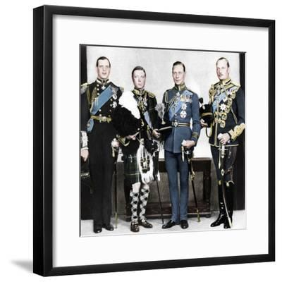 The Prince of Wales with his brothers, c1930s-Unknown-Framed Photographic Print