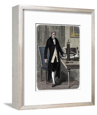 Alessandro Volta, Italian physicist, demonstrating his electric pile (battery), c1800 (c1870)-Unknown-Framed Giclee Print