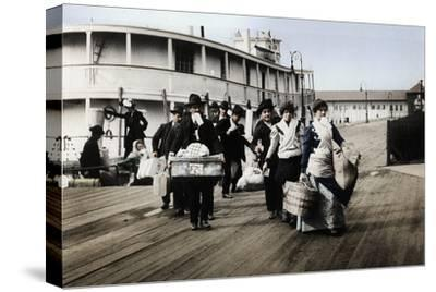 Immigrants to the USA landing at Ellis Island, New York, c1900-Unknown-Stretched Canvas Print