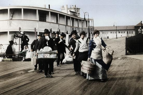 Immigrants to the USA landing at Ellis Island, New York, c1900-Unknown-Photographic Print