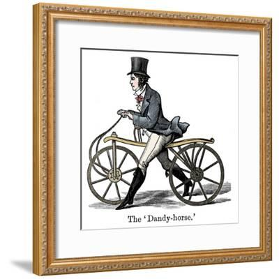 A Dandy-Horse or Draisienne of the type fashionable c1820-Unknown-Framed Giclee Print