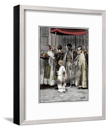 Coronation of Richard I in Westminster Abbey 1189, (c1880)-Unknown-Framed Giclee Print