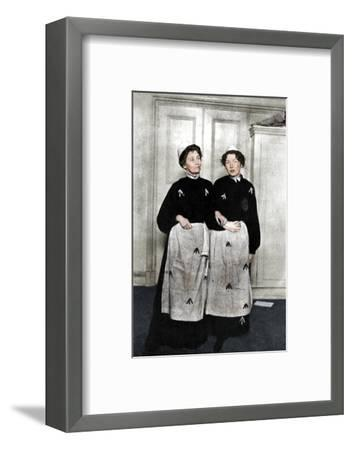 Emmeline and Christabel Pankhurst, English suffragettes, in prison dress, 1908-Unknown-Framed Photographic Print